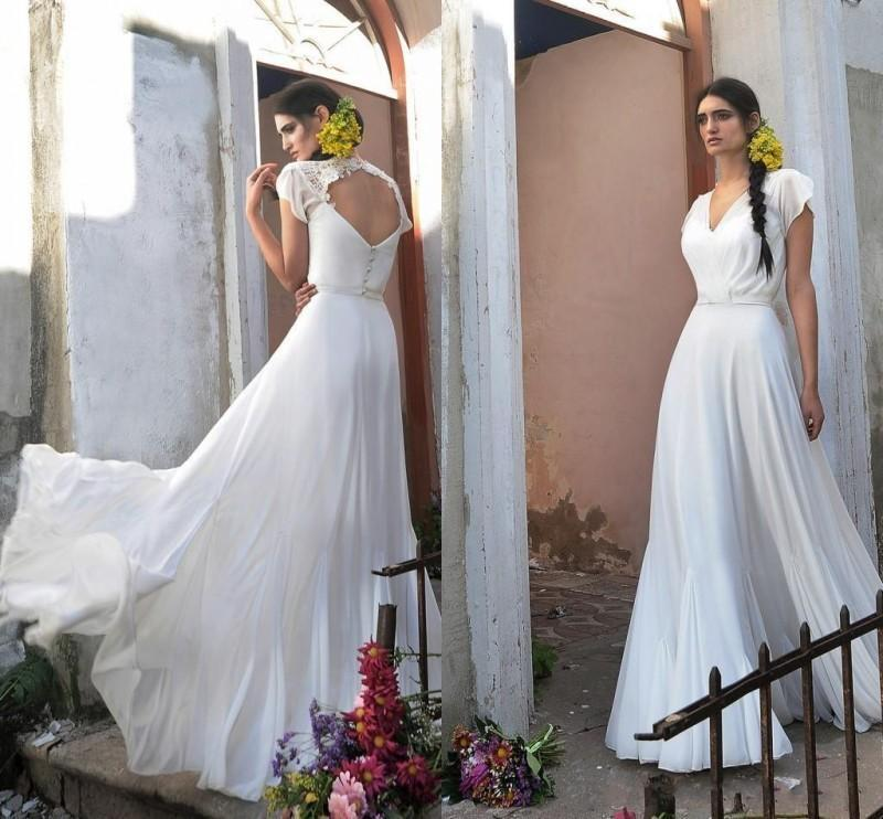 Elegant chiffon a line beach wedding dresses 2016 v neck for Backless wedding dresses online