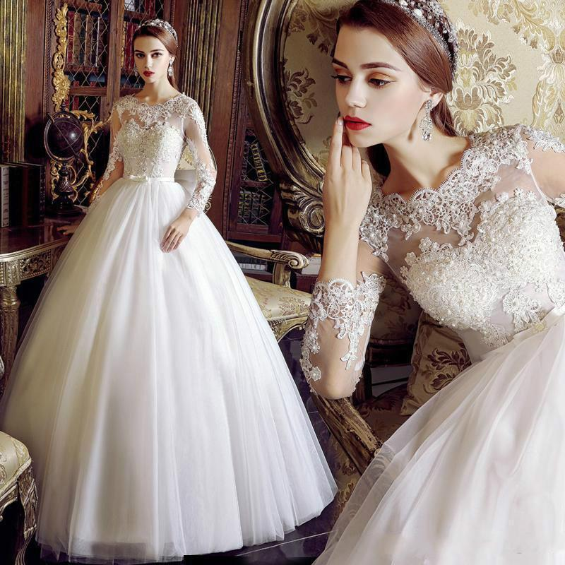 Vintage Wedding Dresses 3 4 Sleeve : Vintage long sleeves wedding dresses beaded lace