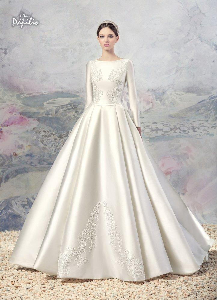 Vintage lace a line wedding dresses 2016 winter fall noble for Satin a line wedding dress