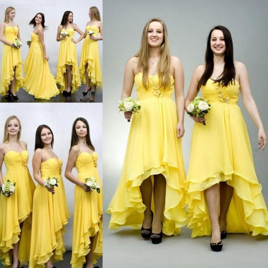 Elegant Yellow Chiffon High Low Bridesmaid Dresses For Wedding 2016
