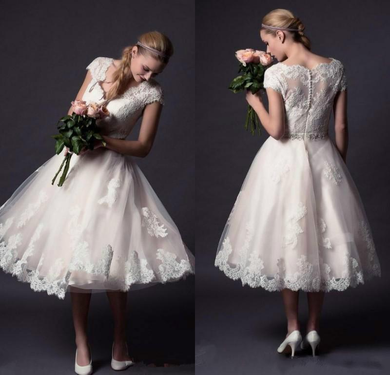 New arrival short wedding dresses v neck short sleeves for Cheap wedding dresses tea length