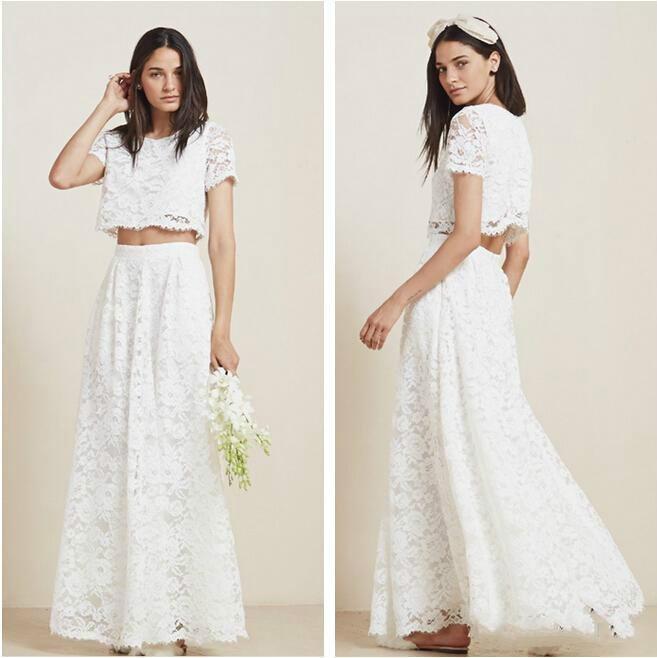 2 Piece Beach Wedding Dresses : Wedding stunning two piece full lace beach dresses with