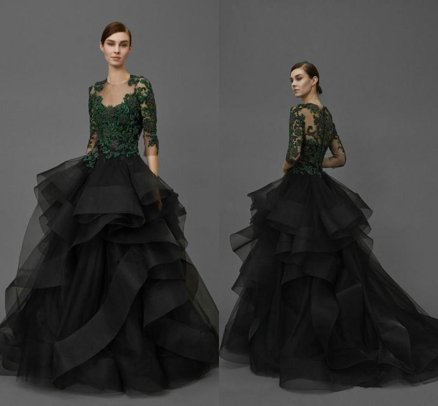5ecda87d13 Sexy 2016 Long Sleeves Evening Dresses Sheer Party Lace Applique Ruffles  Organza Formal Celebrity Ball Gowns Custom Special Occasion Dress Online  with ...