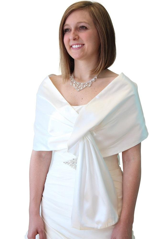 Ivory White Satin Reversible Bridal Wrap Wedding Stole Shrug Scarf Evening Shawl
