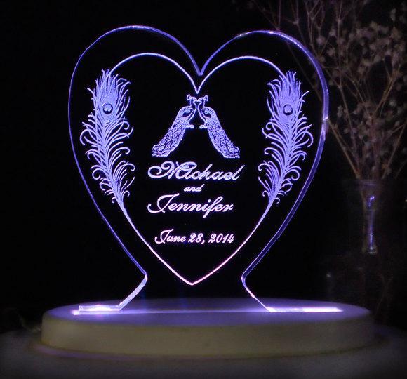 Свадьба - Peacock Love Wedding Cake Topper - Acrylic - Personalized - Light Option