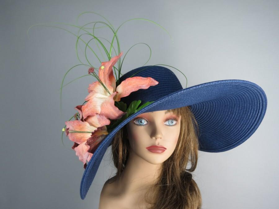 Navy Blue Church Wedding Hat Real Touch Lily Head Piece Kentucky Derby Hat  Navy Blue Bridal Coctail Hat Couture Fascinator Bridal Hat 276a73d8bbd