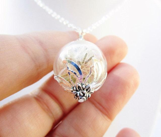 Dandelion Seed Glass Orb Terrarium Necklace Small Orb In Silver Or