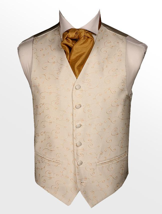 Свадьба - Mens Wedding Woven Waist Coat ivory & Golden Phantom **Sale Price**