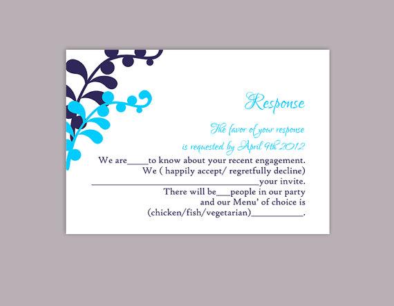 Mariage - DIY Wedding RSVP Template Editable Text Word File Download Printable RSVP Cards Leaf Rsvp Turquoise Rsvp Card Template Navy Blue Rsvp Card