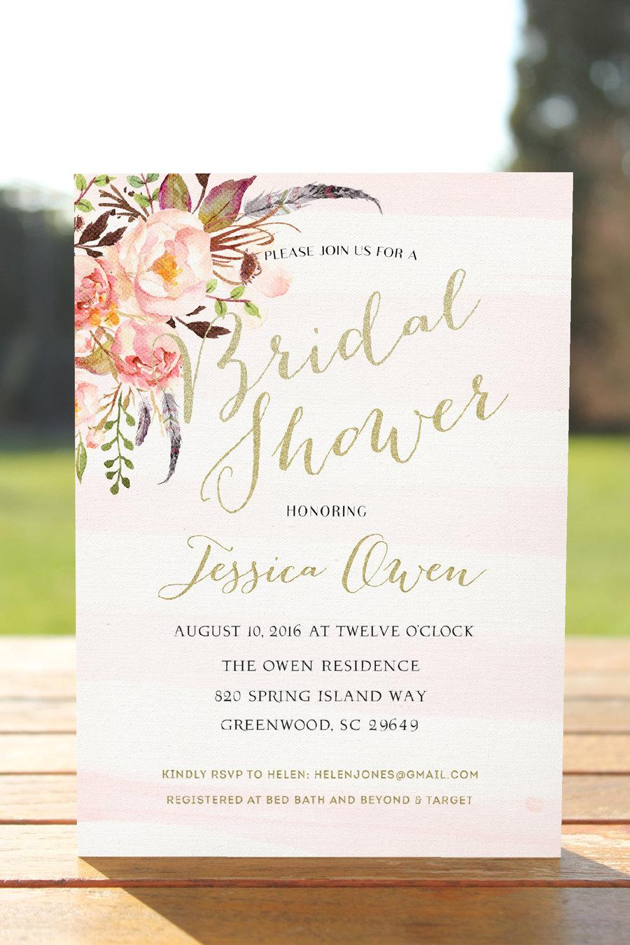 Bridal Shower Invitation,boho Bridal Shower, Printable Bridal ...