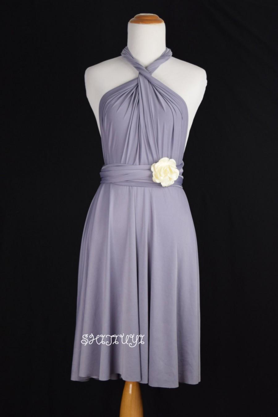 Mariage - Bridesmaid Dress Lilac Grey Infinity Dress  Knee Length Wrap Convertible Dress S119