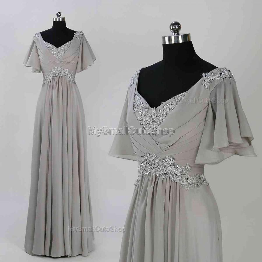 Gray Long Prom Dress,lace Applique Bridesmaid Dresses,short Sleeve ...
