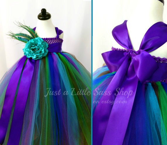 Mariage - Flower Girl Peacock Tutu Dress  - You Choose Your Colors