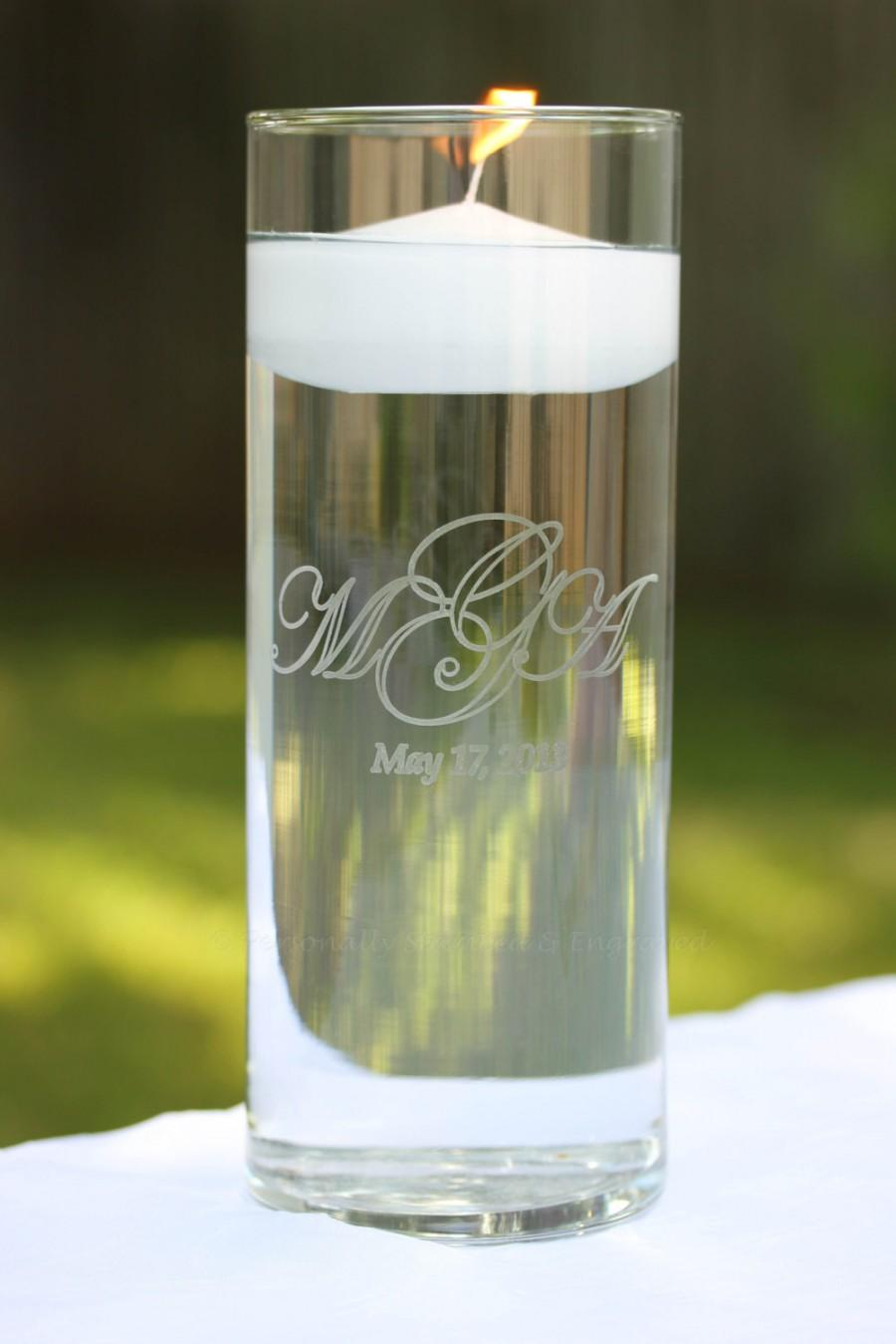 Hochzeit - Engraved Floating Unity Glass Vase, Floating Candle included in ivory or white or pink - Made to Order