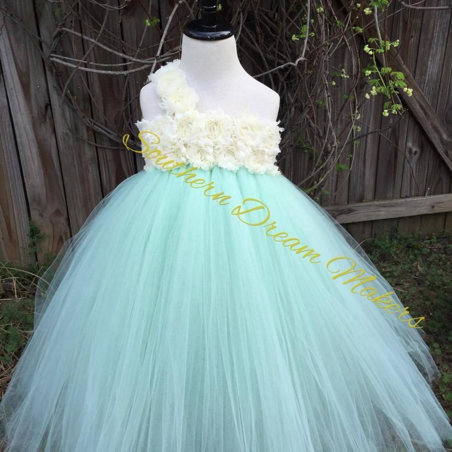 Flower Girl Tutu Dress-Shabby Chic Flower Girl Dress-Mint Flower ...