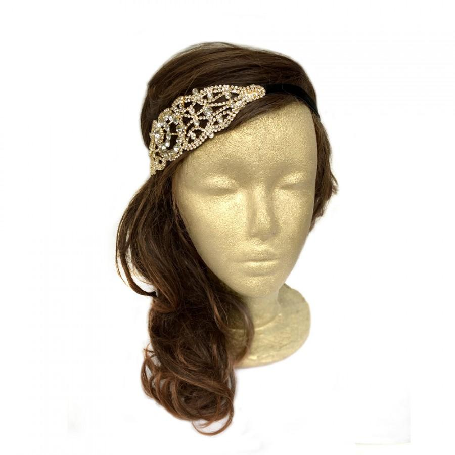 Yellow hair accessories for wedding - 1920s Headpiece Bridal Tiara Gold Flapper Headband Costume Headpiece Wedding Hair Accessories Great Gatsby Headband Art Deco Hairpiece