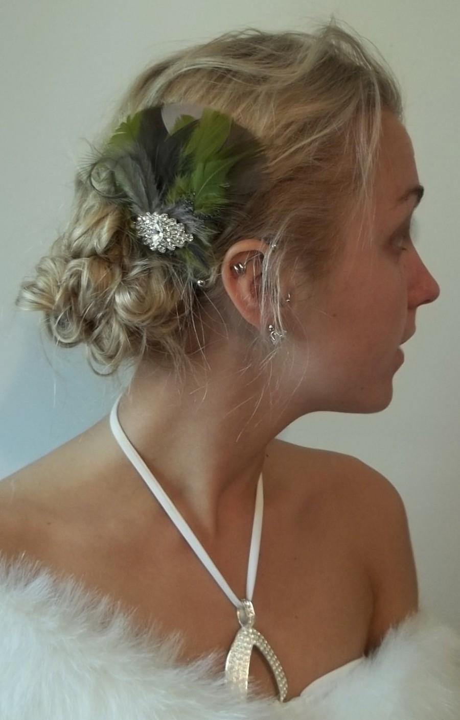 Свадьба - Wedding Fascinator Camo Bride - camouflage bridal hair fascinator, green, tan taupe, brown -  marquie rhinestones - camo wedding