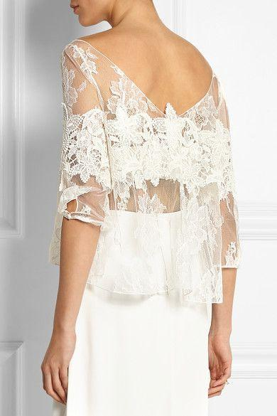 زفاف - Rime Arodaky - Pierce Appliquéd Floral-lace Top