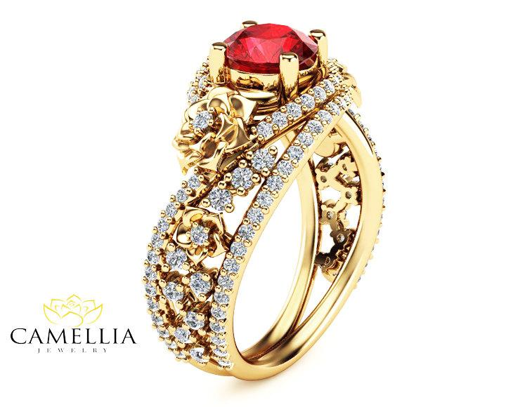 Natural Ruby 18k Yellow Gold Ring Fl Design Engagement Art Deco Styled