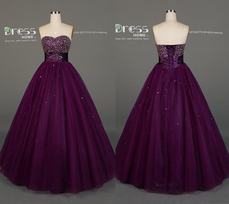 Plum Purple A Line Beading Prom Dress/Sweetheart Rhinestones Sequins ...