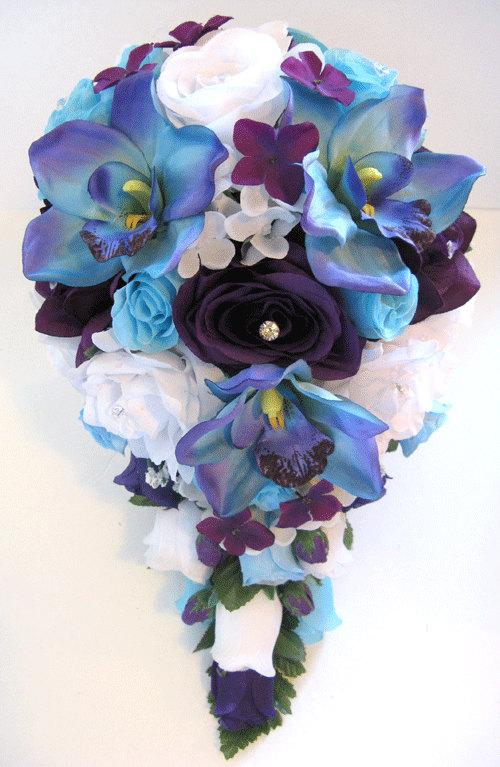 Свадьба - Wedding Flowes Bouquet Bridal Silk 17 piece Package Cascade PURPLE AQUA BLUE Orchid Bridesmaid boutonnieres corsages RosesandDreams