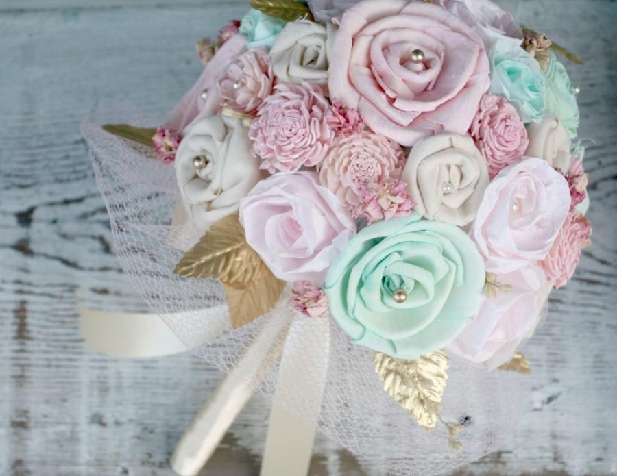 Mariage - Pastel Pink & Mint Handmade Small to Medium Wedding Bouquet, Mint and Pink Wedding Flowers, Gold Accents, Shabby Chic Bridal Flower Bouquet