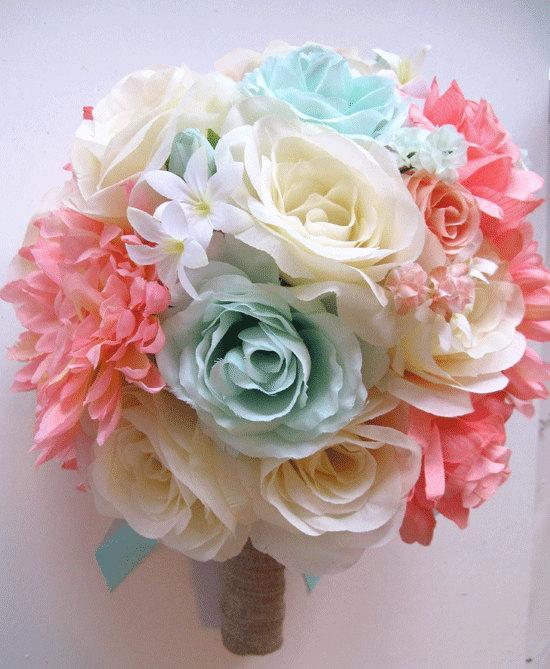 Mariage - Wedding Bouquet Bridal flower silk 17 piece Package CORAL MINT PEACH Cream Burlap bridesmaid Boutonnière maid of honor  RosesAndDream