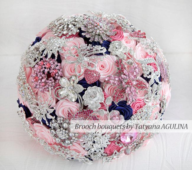 Brooch Bouquet Pink Navy Blue And Silver Wedding Brooch Bouquet