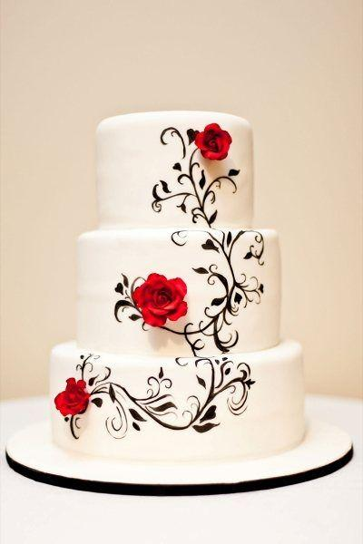 Hand Painted Black And White Wedding Cake U2014 Black/White