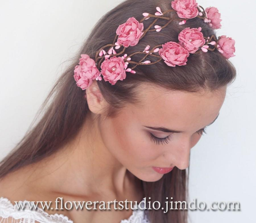 Pink Flower Crown Light Pink Wreath Pink Bridal Floral Crown