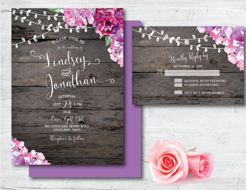 زفاف - Printable Wedding Invitation, Purple Wedding Invitation, Purple, Wedding, Invitation, Printable, DIY, Watercolor, Rustic, Country, Wood