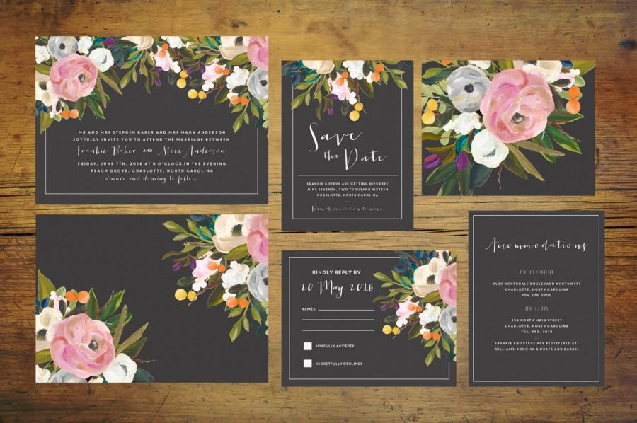 Black Wedding Invitation Suite Set Of 25