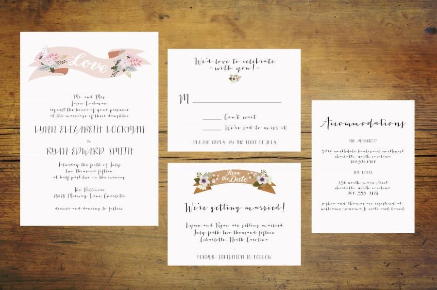 Wedding - Banner Wedding Invitation Suite (Set of 25)