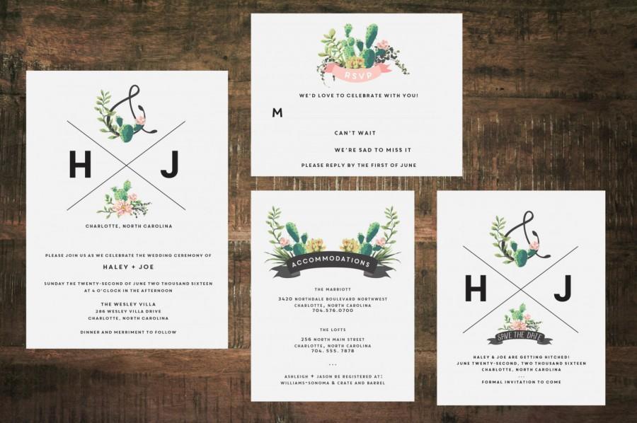 Wedding - Succulent Wedding Invitation Suite (Set of 25)