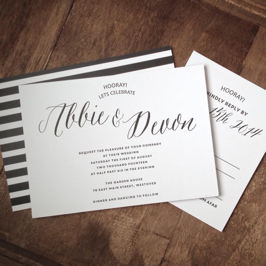 Classic Black And White Wedding Invitation Suite Set Of 25