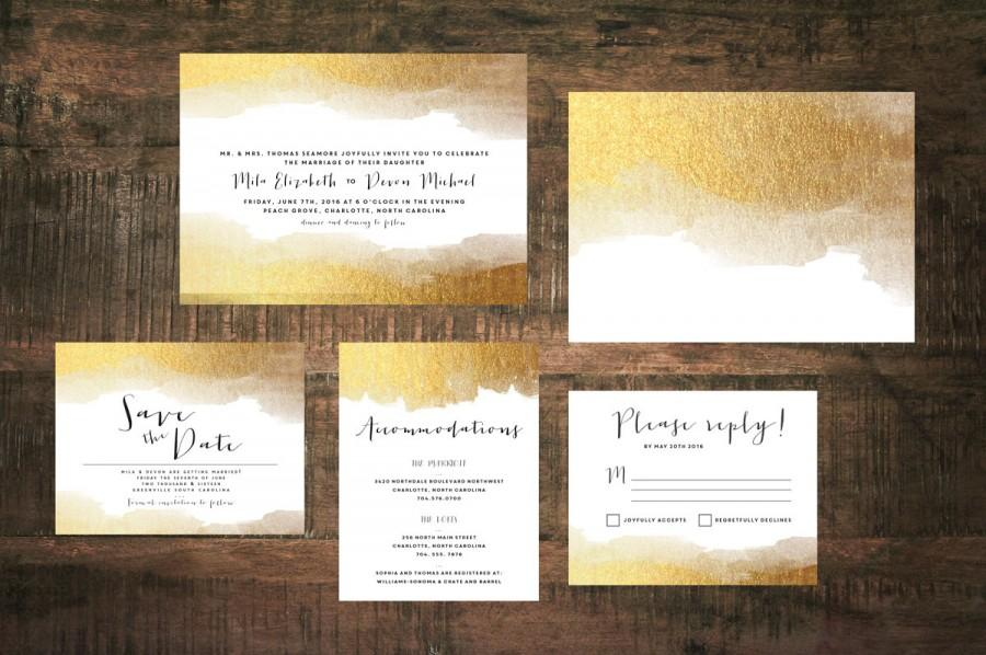 Golden Wedding Invitation Suite (Set Of 25) #2493179 - Weddbook