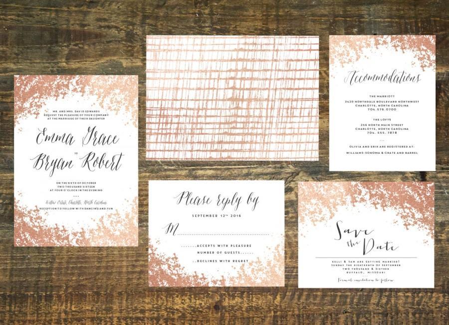 Wedding - Rose Gold Foil Wedding Invitation Suite (Set of 25)