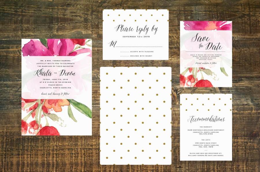 Wedding - Watercolor Wedding Invitation Suite (Set of 25)