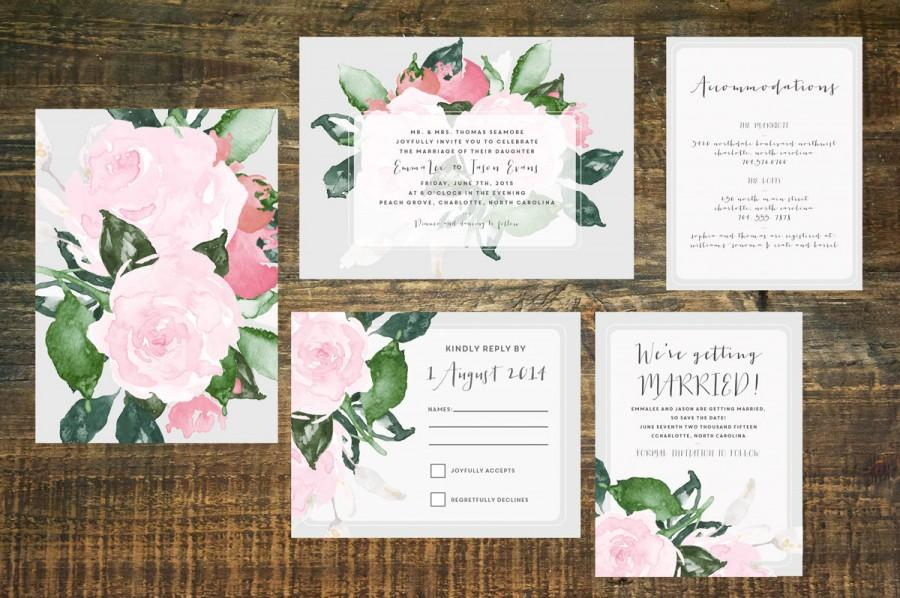 Hochzeit - Floral Wedding Invitation Suite (Set of 25)