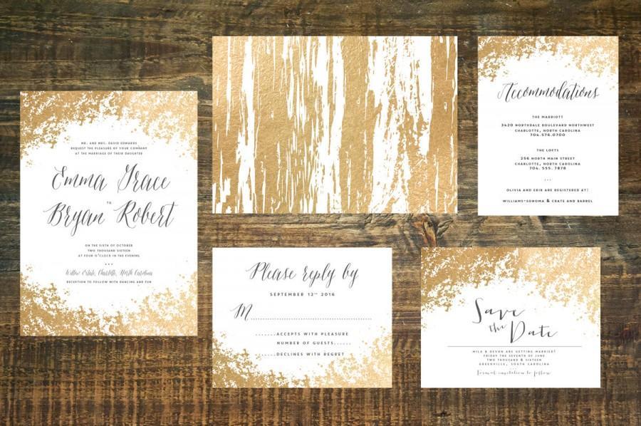 Wedding - Gold Foil Wedding Invitation Suite (Set of 25)