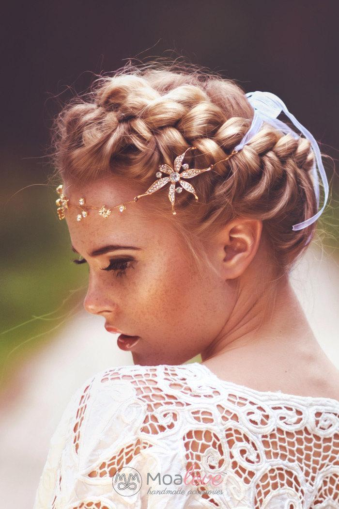 Свадьба - Bridal Headpiece, Halo,Wedding Hair accessory, Bridal Adornment, Beaded headpiece, HAIR VINE, gold head piece, Wreath,Rhinestone Style 531