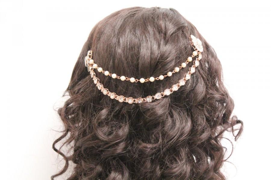Свадьба - Wedding hair chain rose gold wedding hair band wedding hair piece wedding hair accessories wedding headband bridal hair chain rose gold comb