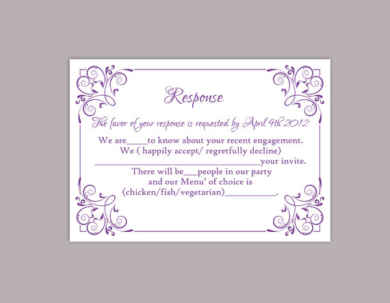 Blank wedding invitation response cards yaseen for for Printable rsvp card