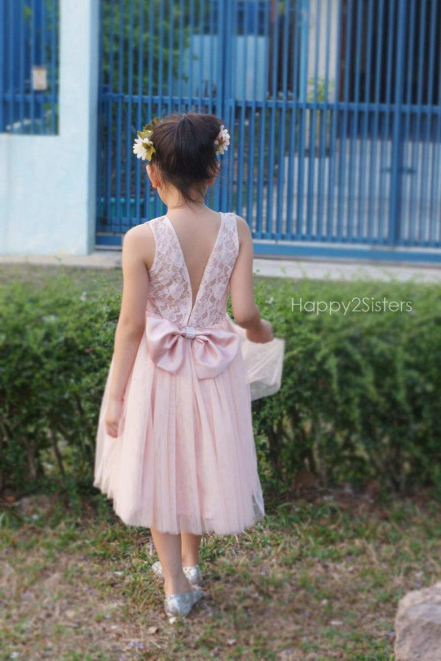 Blush Flower Girls Dress Lace And Tulle Flower Girl Dress Blush