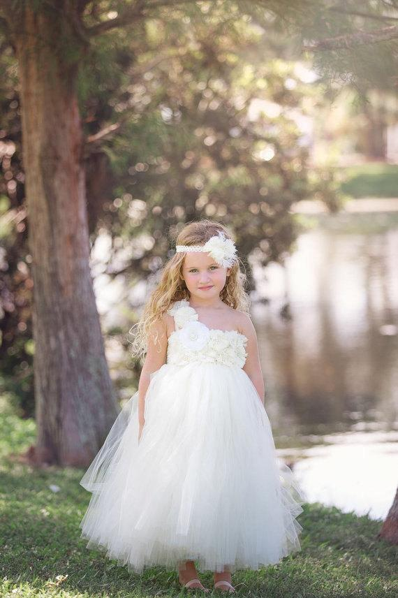 Ivory Flower Girl Dress Shabby Chic Flowers Dress Tulle Dress ...