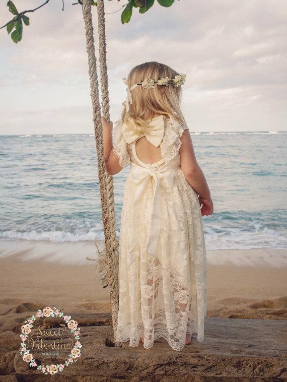 Mariage - beach flower girl dress, junior bridesmaid dress, rustic flower girl, bohemian flower girl dress, country flower girl dress,Ivory lace dress