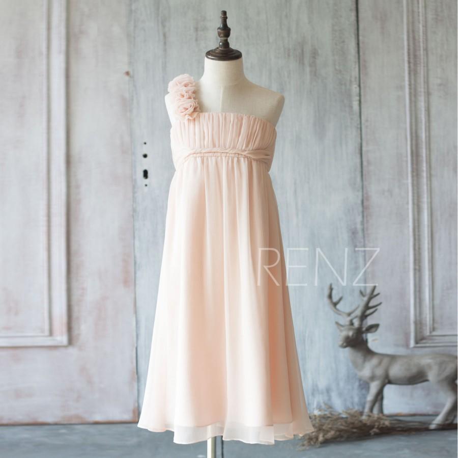 Mariage - 2016 Peach Junior Bridesmaid Dress, One Shoulder Empire Waist Flower Girl Dress, Long Rosette dress floor length (ZK025)