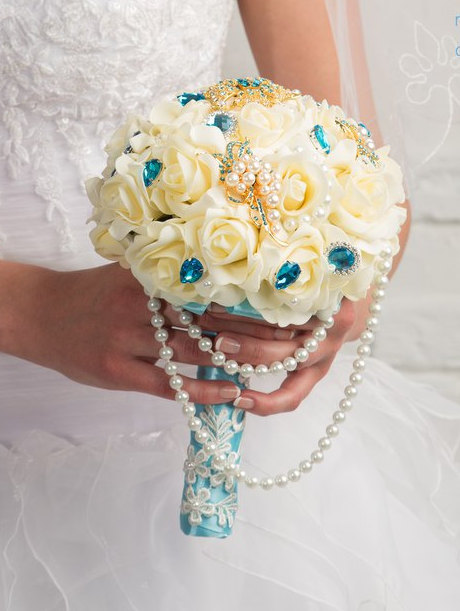 Hochzeit - Brooch Bouquet Turquoise Ivory Brooch bouquet Wedding bouquet Bridal broach bouquet Turquoise Wedding Bridesmaids Brooch bouquet Handmade