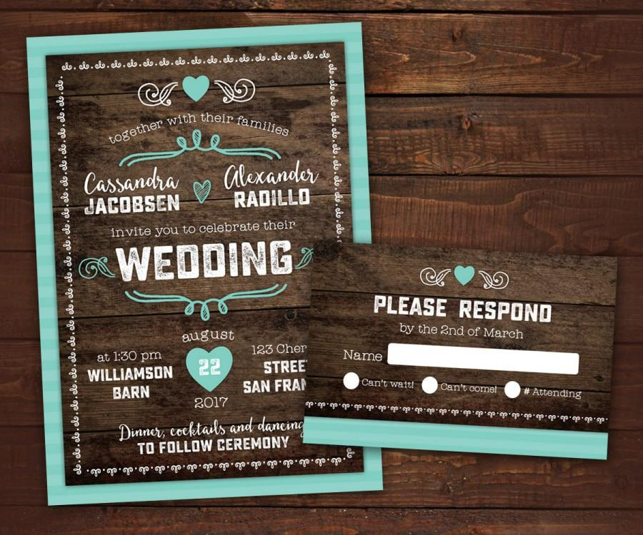 10 Country Rustic Wedding Invitations With Rsvp Barn Wedding Wood