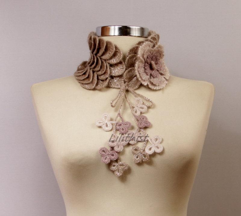 Свадьба - Crochet Scarf, Bridal Wrap, Collar Bib, Wedding Scarf, Glitter Grey Purple / Grey Pink Crochet  Collar Scarf Choker Scarf Bridal Accessories